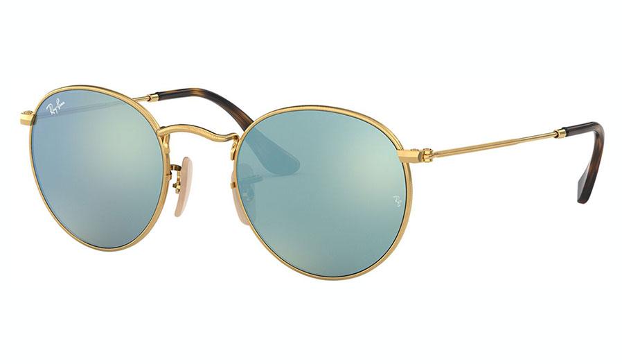 Ray-Ban RB3447N Round Metal Flat Lens Sunglasses - Gold / Grey Flash