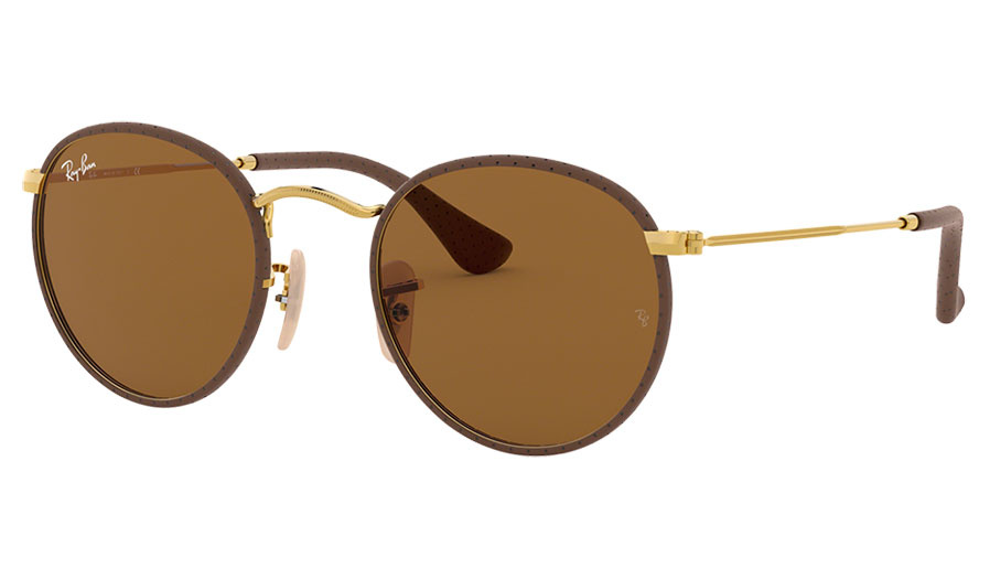 Ray-Ban RB3475Q Round Craft Sunglasses - Gold & Brown Leather / Brown