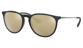 Ray-Ban RB4171 Erika Sunglasses - Gloss Black / Light Brown w/Gold Mirror
