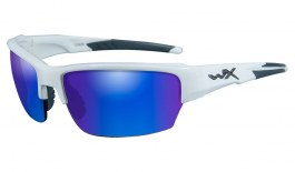 Wiley X Saint Sunglasses - Gloss White / Green Blue Mirror Polarised