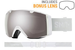 Smith Optics I/O Prescription Ski Goggles - White Vapor / ChromaPop Sun Platinum Mirror + ChromaPop Storm Rose Flash