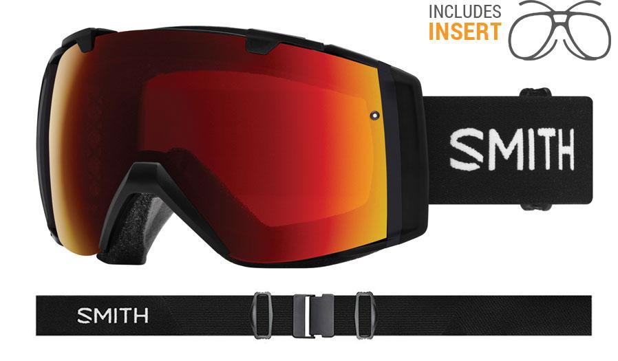 Smith Optics I/O Prescription Ski Goggles - Black / ChromaPop Sun Red Mirror + ChromaPop Storm Rose Flash