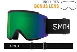 Smith Optics Squad XL Ski Goggles - Black / ChromaPop Sun Green Mirror + ChromaPop Storm Rose Flash
