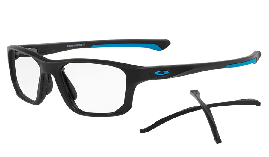 b0296fb142f7c ... frame clear lens c6700 c8a3a  cheap oakley crosslink fit prescription glasses  satin black blue essilor prescription lenses 19526 f3e29