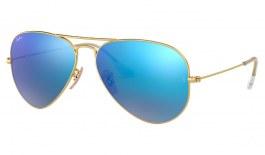 Ray-Ban RB3025 Aviator Sunglasses - Matte Gold / Blue Flash