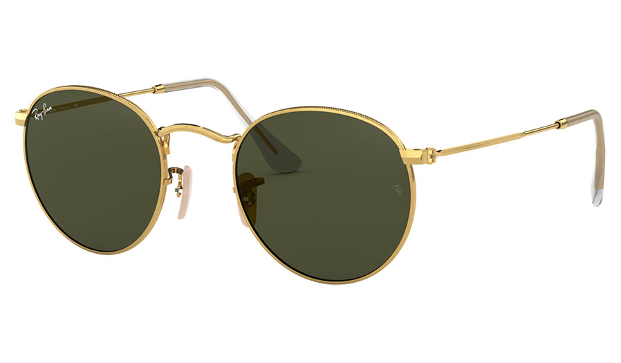 Ray-Ban RB3447 Round Metal Sunglasses - Gold / Green
