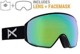 Anon M4 Toric MFI Ski Goggles - Black / Sonar Green + Sonar Blue