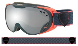 Bolle Duchess Ski Goggles - Matte Dark Grey & Coral / Black Chrome