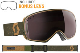 Scott LCG Ski Goggles - Dark Green Brown / Enhancer Silver Chrome + Illuminator Blue Chrome