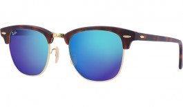 Ray-Ban RB3016 Clubmaster Sunglasses - Tortoise & Gold / Blue Flash