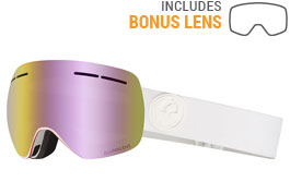Dragon X1S Ski Goggles - Whiteout / LumaLens Pink Ion + Dark Smoke