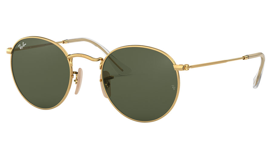 Ray-Ban RB3447N Round Metal Flat Lens Sunglasses - Gold / Green