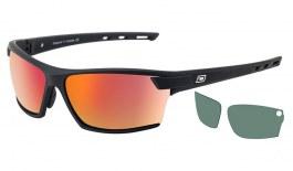 Dirty Dog Sport Evolve X2 Sunglasses - Satin Black / Grey Polarised with Red Fusion Mirror & Green Polarised