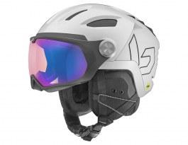 Bolle V-Ryft MIPS Ski Helmet - Shiny White Pearl / Phantom Blue Photochromic