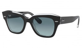 Ray-Ban RB2186 State Street Sunglasses - Black on Transparent / Blue Grey Gradient