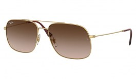 Ray-Ban RB3595 Andrea Sunglasses - Matte Gold / Brown Gradient