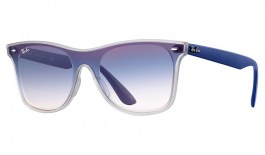 Ray-Ban RB4440N Blaze Wayfarer Sunglasses - Matte Transparent Clear & Blue / Blue Gradient Red Mirror