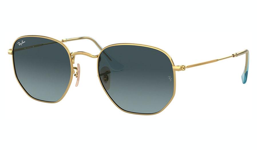 Ray-Ban RB3548N Hexagonal Flat Lens Sunglasses - Gold / Blue Grey Gradient