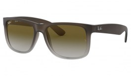 Ray-Ban RB4165 Justin Sunglasses - Rubber Brown on Grey / Green Gradient