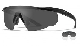 Wiley X Saber Advanced Prescription Sunglasses - Clip-On Insert - Matte Black / Smoke Grey + Clear