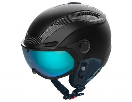 Bolle V-Line Carbon Visor Ski Helmet - Matte Black / Phantom Blue Photochromic