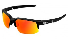 100% Speedcoupe Sunglasses - Soft Tact Black / HiPER Red Multilayer Mirror + Clear