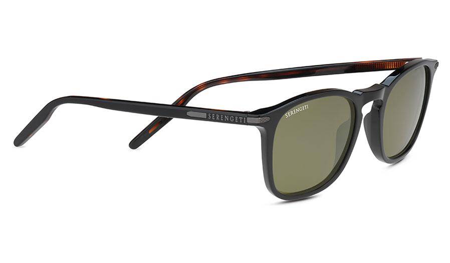 Serengeti Delio Sunglasses - Gloss Black & Dark Tortoise / 555nm Polarised Photochromic