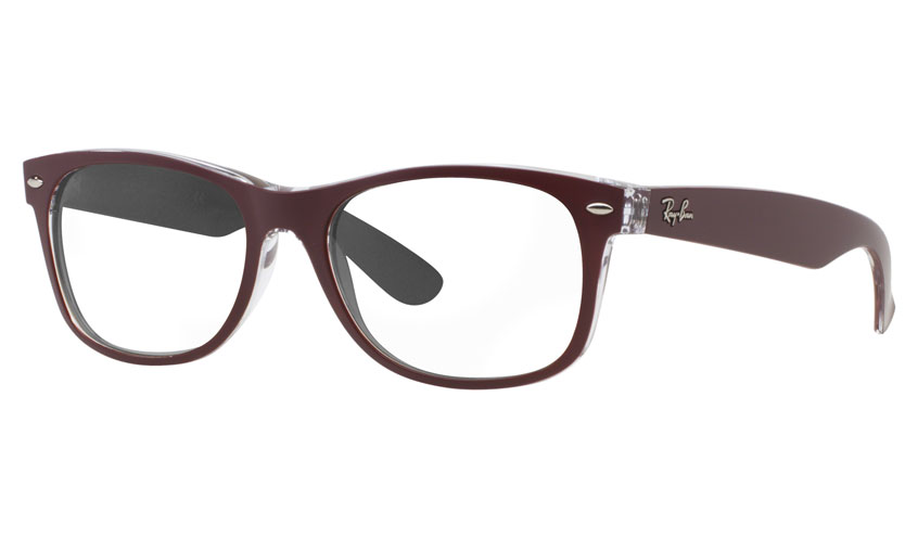 ray ban wayfarer prescription lenses  ray ban rb2132 new wayfarer prescription sunglasses color mix bordeaux & transparent
