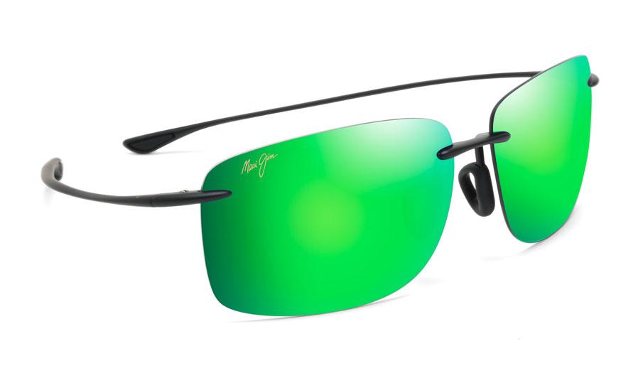 Maui Jim Hema Sunglasses - Matte Black / MauiGreen Polarised