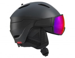 Salomon Driver Ski Helmet - Black & Red Accent / ML Infrared + Tonic Orange