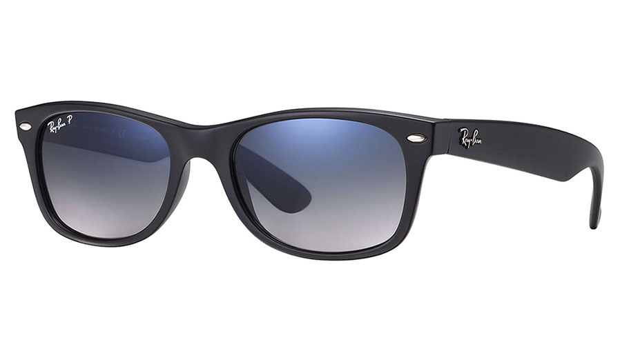 12b5c5379 Ray-Ban RB2132 New Wayfarer Sunglasses - Matte Black / Blue-Grey ...