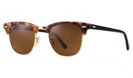 Ray-Ban RB3016 Clubmaster Sunglasses - Tortoise & Black / Brown (B-15)