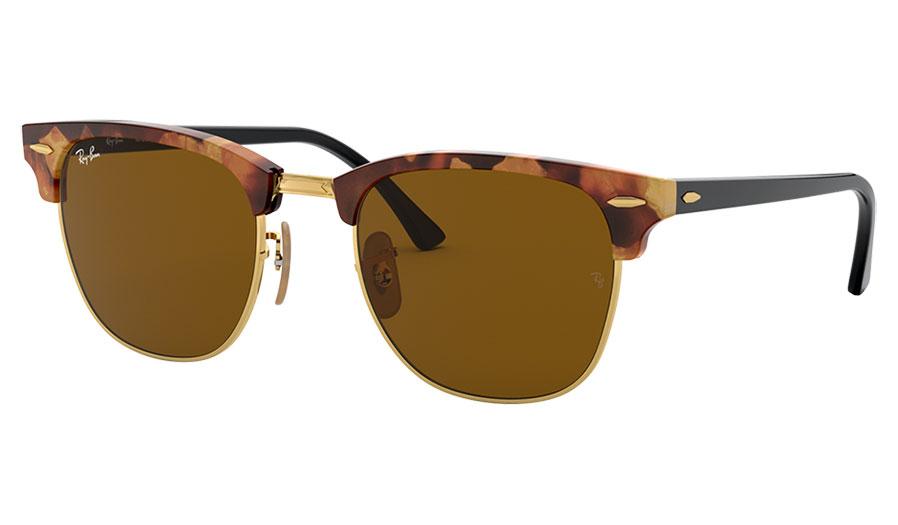 Ray-Ban RB3016 Clubmaster Sunglasses - Fleck Havana / Brown