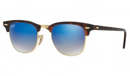 Ray-Ban RB3016 Clubmaster Sunglasses - Tortoise & Gold / Blue Gradient Flash