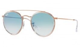 Ray-Ban RB3647 Round Double Bridge Sunglasses - Copper / Light Blue Gradient