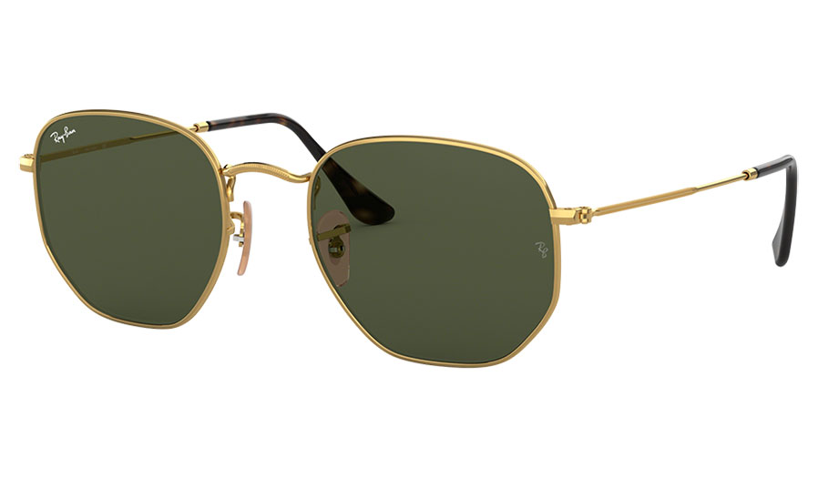 Ray-Ban RB3548N Hexagonal Flat Lens Sunglasses - Gold / Green