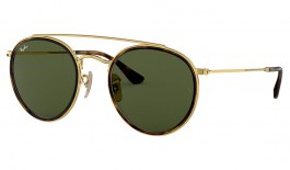 Ray-Ban RB3647N Round Double Bridge Sunglasses - Gold / Green