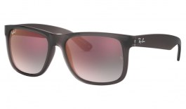 Ray-Ban RB4165 Justin Sunglasses - Transparent Grey / Grey Gradient Red Mirror
