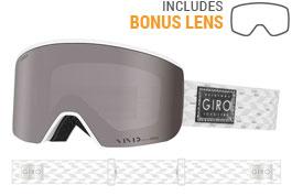 Giro Ella Prescription Ski Goggles - White Silver Shimmer / Vivid Onyx + Vivid Infrared