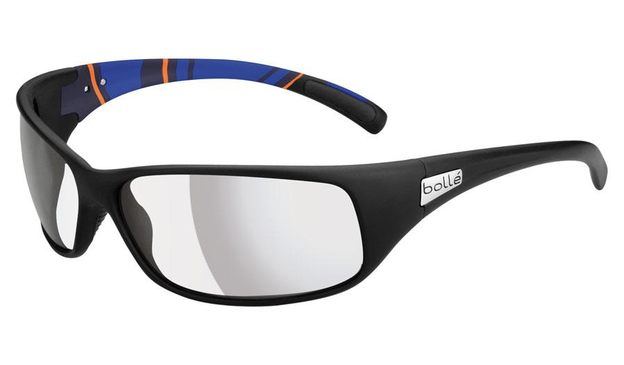 4485d8ab828 Bolle Recoil Prescription Sunglasses - Matte Black   Blue Stripes - RxSport