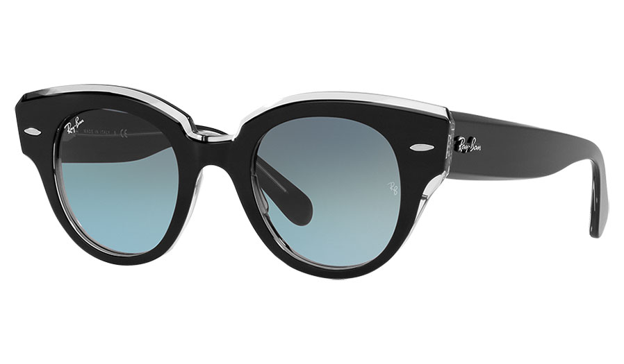 Ray-Ban RB2192 Roundabout Sunglasses - Black on Transparent / Blue Gradient