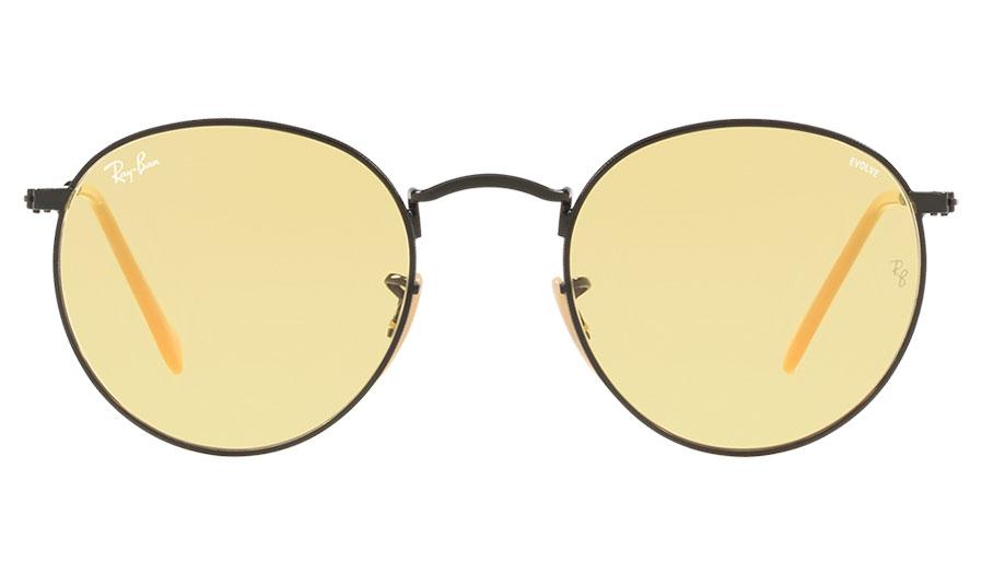 b5cdd771e5 Ray-Ban RB3447 Round Metal Sunglasses - Matte Black   Evolve Yellow ...