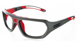 VerSport Troy Glasses - Matte Grey & Red / Clear