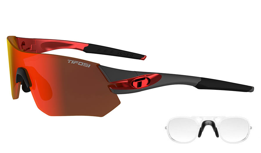 Tifosi Tsali Prescription Sunglasses - Clip-On Insert - Gunmetal & Red / Clarion Red + AC Red + Clear