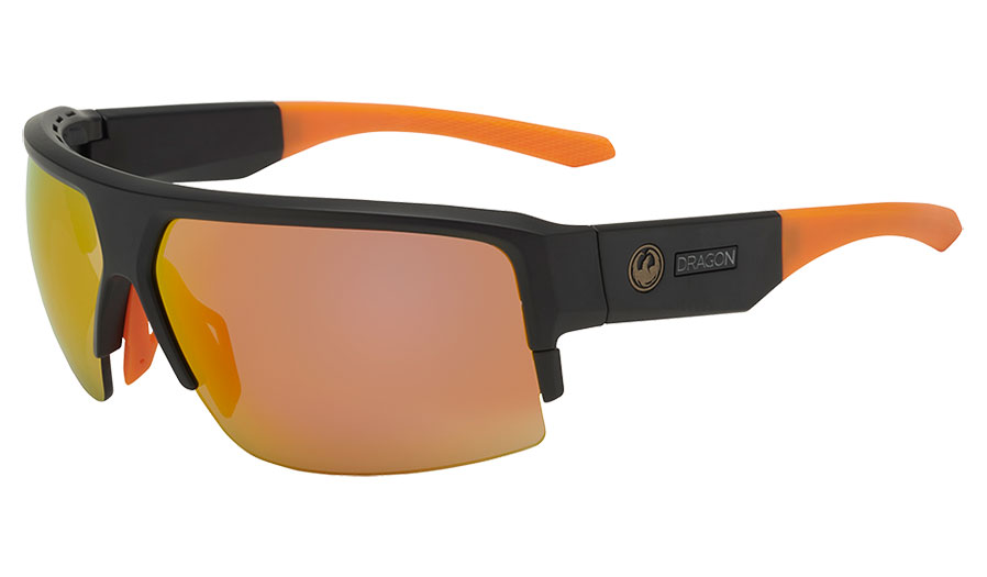 Dragon Ridge X Sunglasses - Matte Black & Orange / Lumalens Orange Ion + Lumalens Solid Brown + Clear