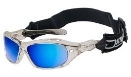 Dirty Dog Wetglass Curl II Sunglasses - Crystal (Floatable) / Grey Polarised w/Blue Mirror