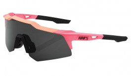 100% Speedcraft XS Sunglasses - Matte Washed Out Neon Pink / Smoke + Clear