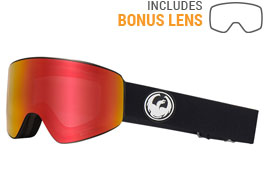 Dragon PXV Ski Goggles - Black / LumaLens Red Ion + LumaLens Rose