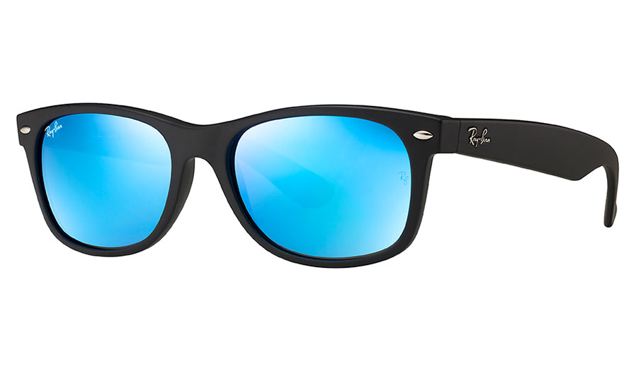 036c2f07e89 Ray-Ban RB2132 New Wayfarer Sunglasses - Matte Black   Blue Flash - RxSport