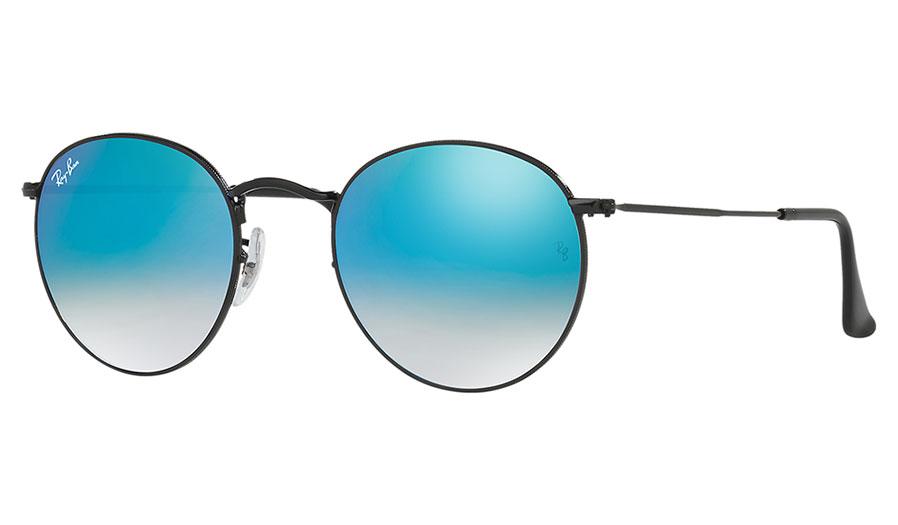 1fbe4cda3b Ray-Ban RB3447 Round Metal Sunglasses - Black   Blue Gradient Flash -  RxSport
